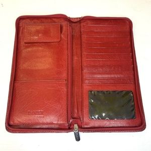 DANIER LEATHER Red Travel Wallet